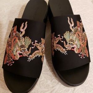 Stretchy Embroidered Dragon/Phoenix Slides - NEW!
